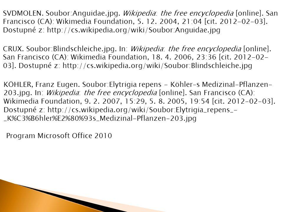 SVDMOLEN. Soubor:Anguidae.jpg. Wikipedia: the free encyclopedia [online]. San Francisco (CA): Wikimedia Foundation, 5. 12. 2004, 21:04 [cit. 2012-02-0