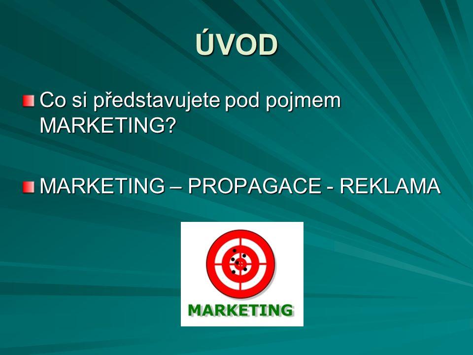 PROPAGACE Nadlinkové (ATL) (reklama v médiích) a podlinkové aktivity (BTL) (podpora prodeje, propagační materiály, dárkové předměty, direct marketing, prezentace, propagační akce, semináře, veletrhy,...) Integrovaná marketingová komunikace (IMK) = koordinace všech komunikačních nástrojů tak, aby se ke spotřebiteli dostávalo jednotné sdělení