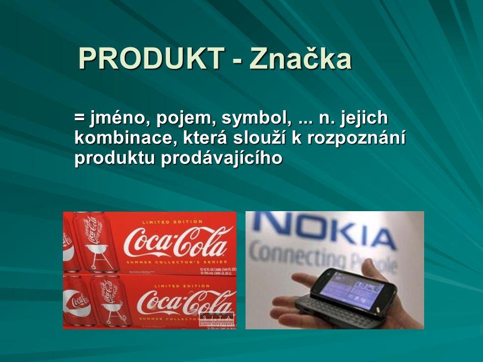 PRODUKT - Značka = jméno, pojem, symbol,... n. jejich kombinace, která slouží k rozpoznání produktu prodávajícího