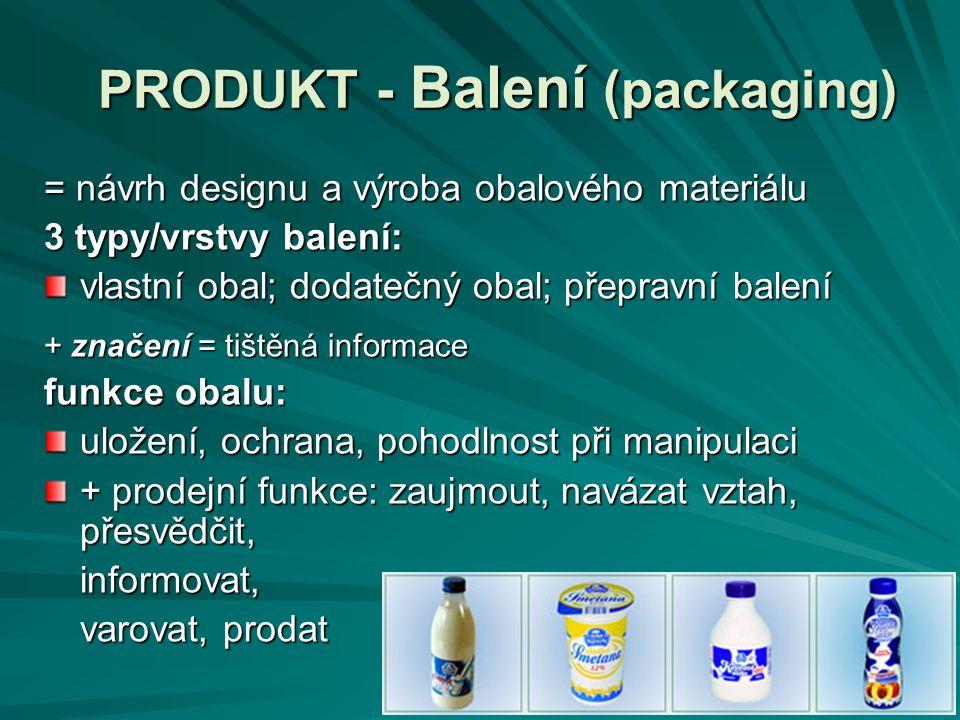 PRODUKT - Balení (packaging) = návrh designu a výroba obalového materiálu 3 typy/vrstvy balení: vlastní obal; dodatečný obal; přepravní balení + znače