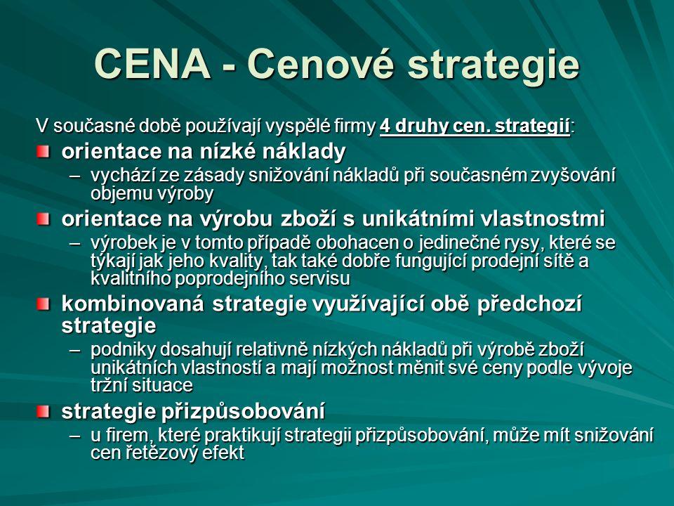 CENA - Cenové strategie V současné době používají vyspělé firmy 4 druhy cen. strategií: orientace na nízké náklady –vychází ze zásady snižování náklad