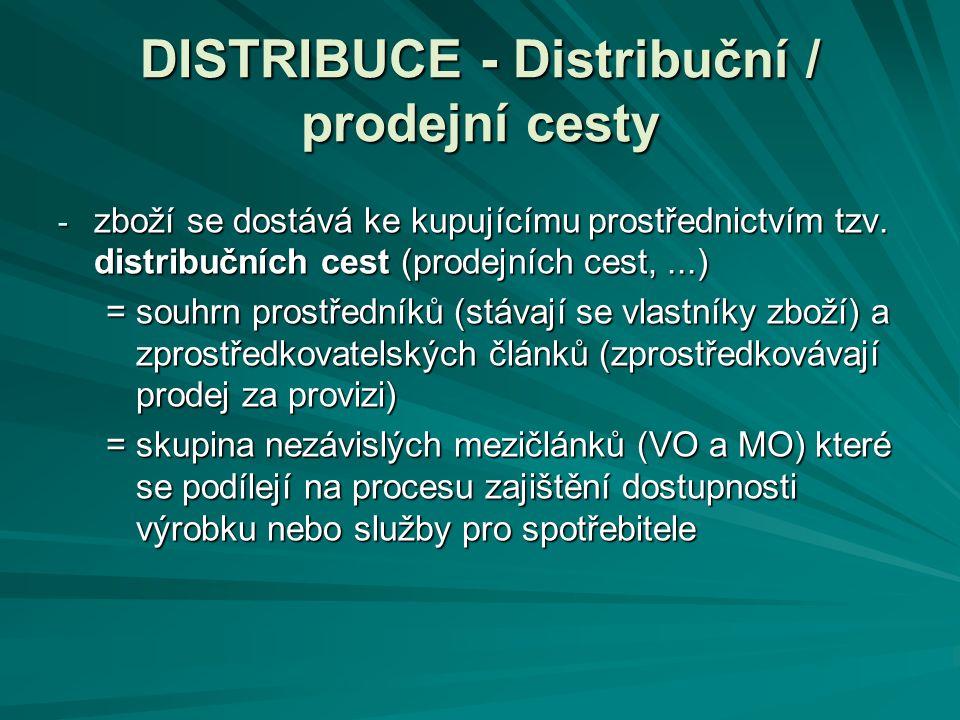 DISTRIBUCE - Distribuční / prodejní cesty - zboží se dostává ke kupujícímu prostřednictvím tzv. distribučních cest (prodejních cest,...) = souhrn pros