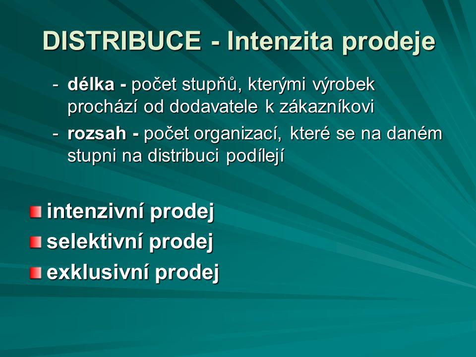 DISTRIBUCE - Intenzita prodeje -délka - počet stupňů, kterými výrobek prochází od dodavatele k zákazníkovi -rozsah - počet organizací, které se na dan