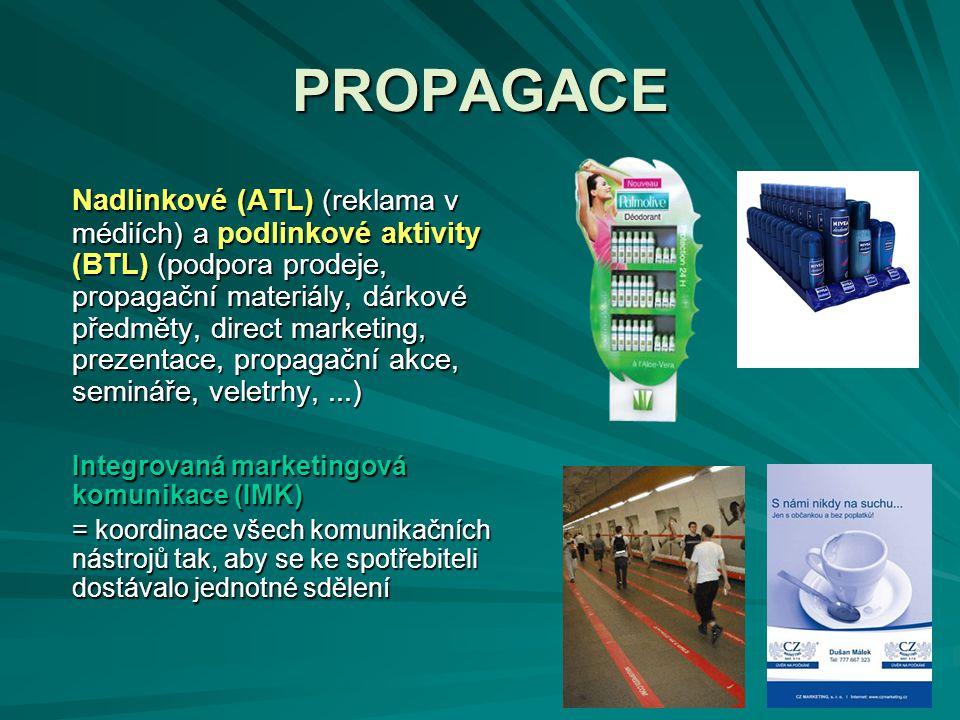 PROPAGACE Nadlinkové (ATL) (reklama v médiích) a podlinkové aktivity (BTL) (podpora prodeje, propagační materiály, dárkové předměty, direct marketing,