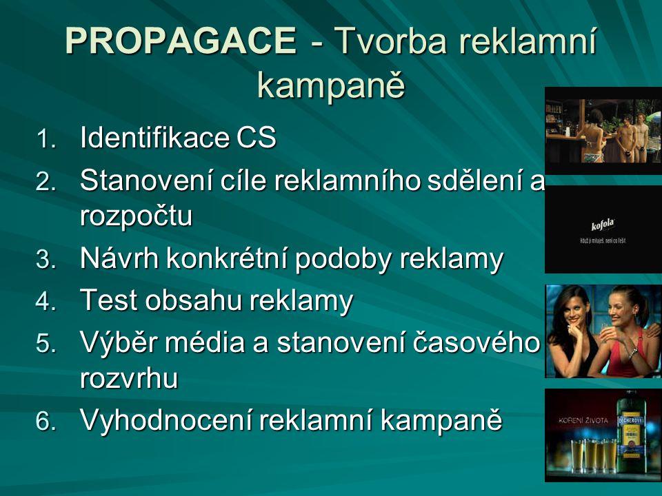 PROPAGACE - Tvorba reklamní kampaně 1. Identifikace CS 2. Stanovení cíle reklamního sdělení a rozpočtu 3. Návrh konkrétní podoby reklamy 4. Test obsah
