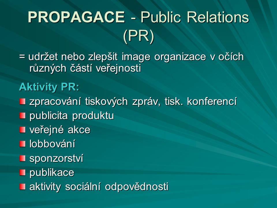 PROPAGACE - Public Relations (PR) = udržet nebo zlepšit image organizace v očích různých částí veřejnosti Aktivity PR: zpracování tiskových zpráv, tis