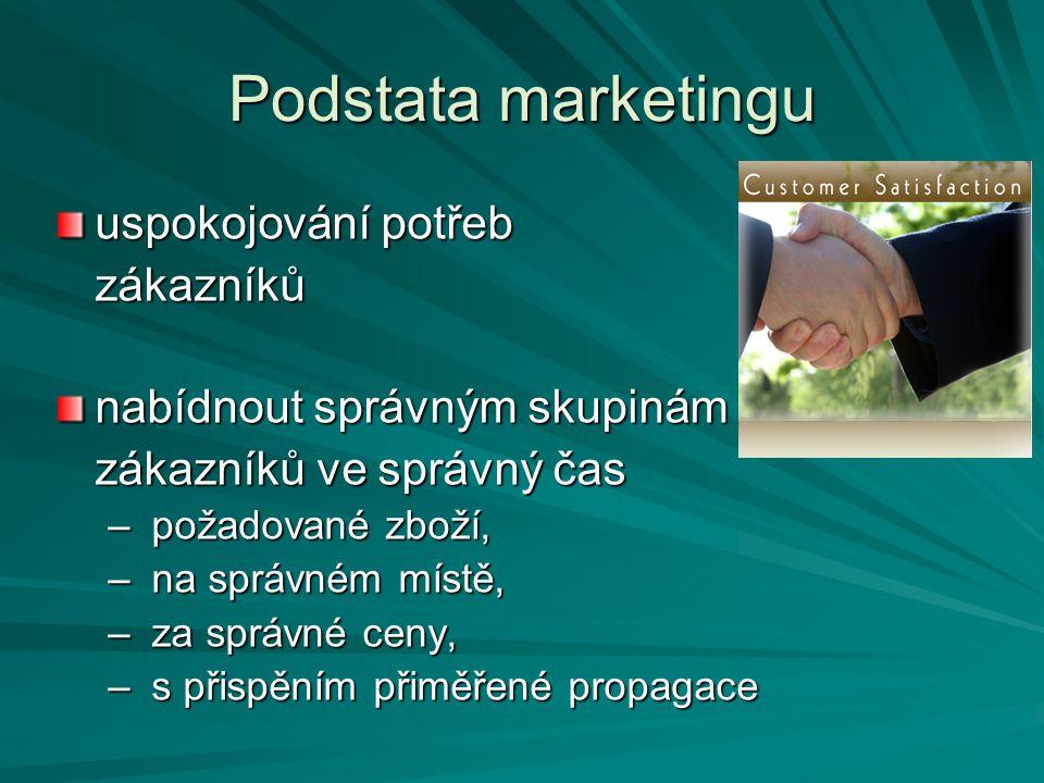 Podstata marketingu uspokojování potřeb zákazníků nabídnout správným skupinám zákazníků ve správný čas – požadované zboží, – na správném místě, – za s
