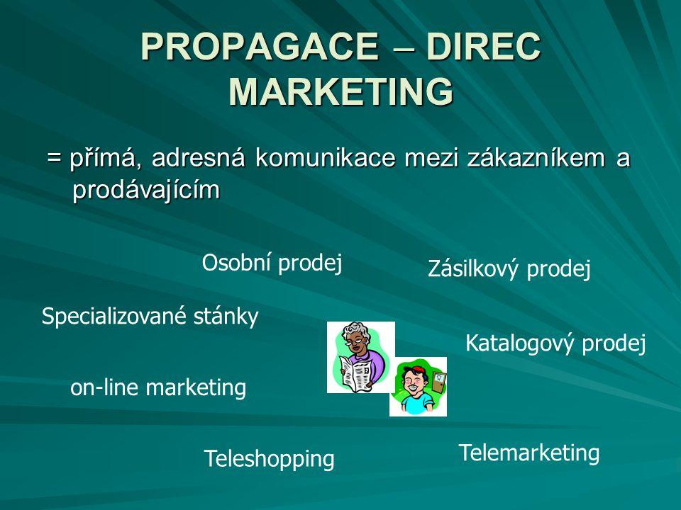 PROPAGACE – DIREC MARKETING = přímá, adresná komunikace mezi zákazníkem a prodávajícím Katalogový prodej Osobní prodej Zásilkový prodej Specializované