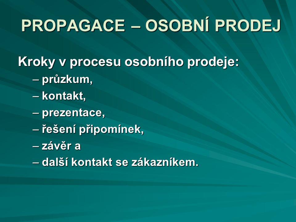 PROPAGACE – OSOBNÍ PRODEJ Kroky v procesu osobního prodeje: –průzkum, –kontakt, –prezentace, –řešení připomínek, –závěr a –další kontakt se zákazníkem