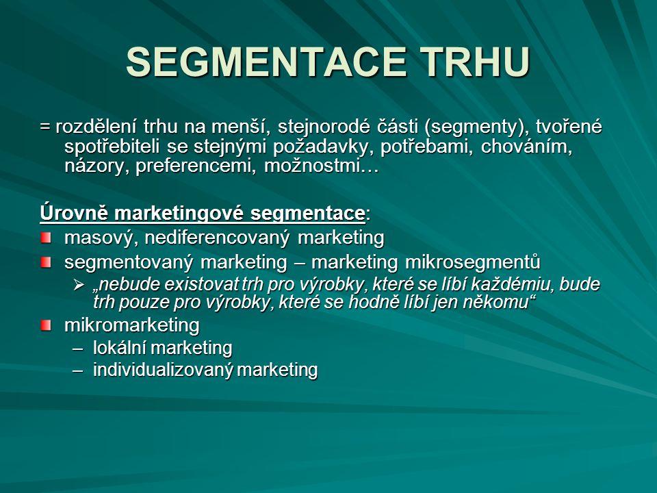 SEGMENTACE TRHU = rozdělení trhu na menší, stejnorodé části (segmenty), tvořené spotřebiteli se stejnými požadavky, potřebami, chováním, názory, prefe