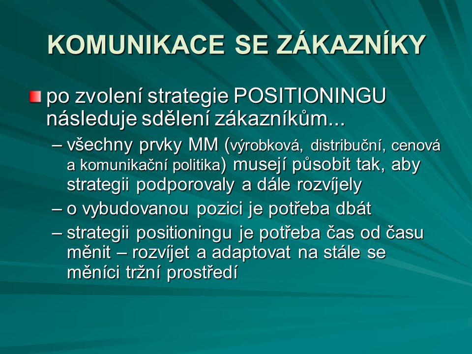 KOMUNIKACE SE ZÁKAZNÍKY po zvolení strategie POSITIONINGU následuje sdělení zákazníkům... –všechny prvky MM ( výrobková, distribuční, cenová a komunik