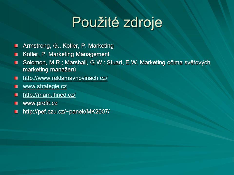 Použité zdroje Armstrong, G., Kotler, P. Marketing Kotler, P. Marketing Management Solomon, M.R.; Marshall, G.W.; Stuart, E.W. Marketing očima světový