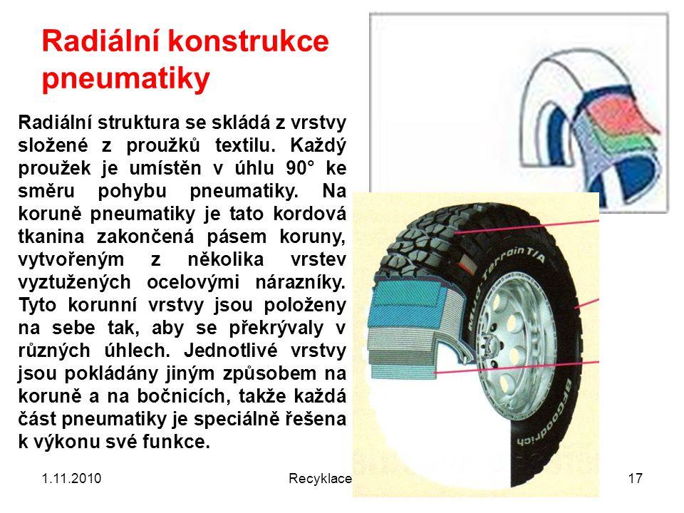 Radiální konstrukce pneumatiky 1.11.2010Recyklace 6 201017 Radiální struktura se skládá z vrstvy složené z proužků textilu. Každý proužek je umístěn v