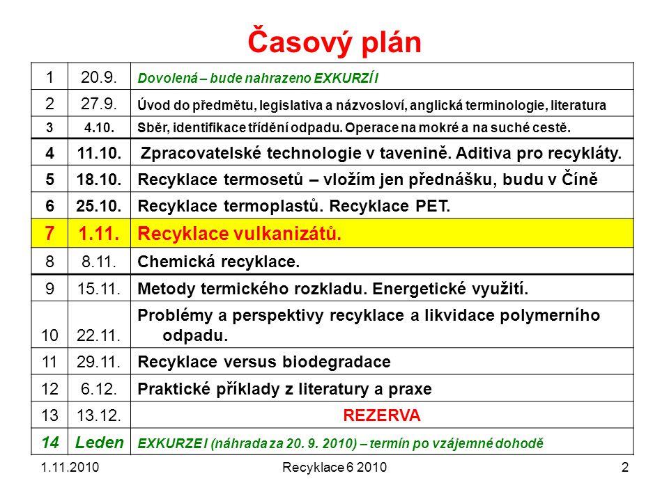 Recyklace 6 20102 Časový plán 120.9. Dovolená – bude nahrazeno EXKURZÍ I 227.9. Úvod do předmětu, legislativa a názvosloví, anglická terminologie, lit