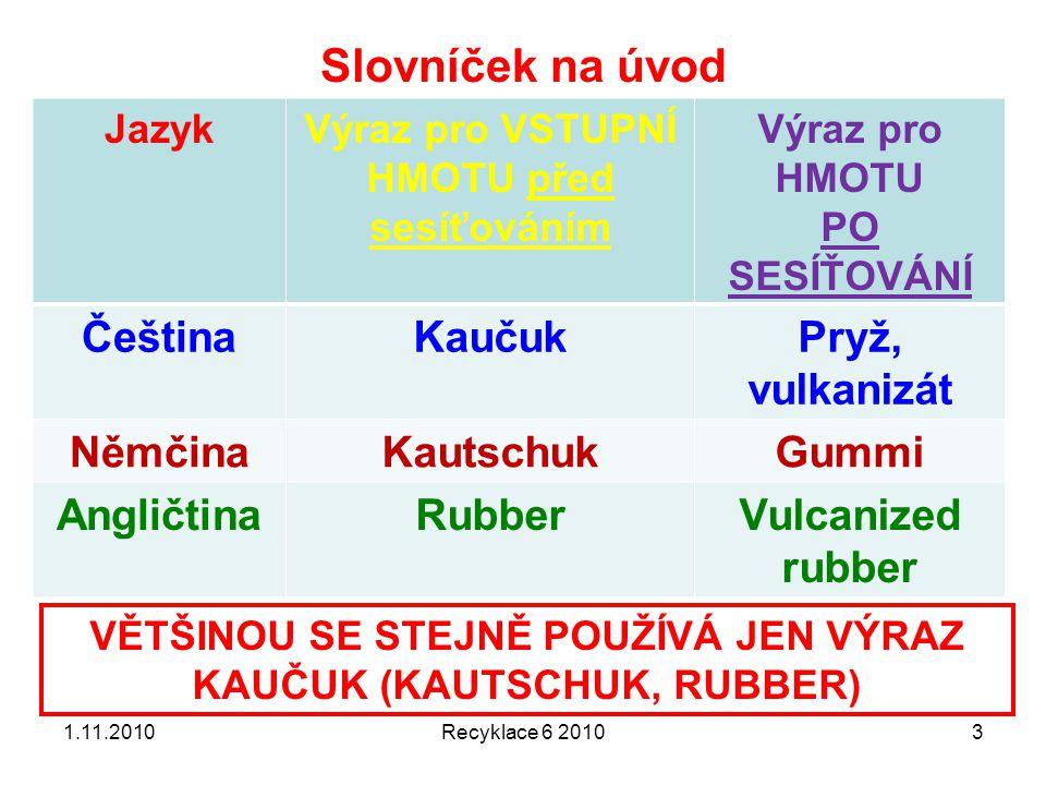 Od kaučuku k pryži Kaučuk (surový kaučuk) –Vulkanizace (síťování) Pryž (vulkanizát) 1.11.2010Recyklace 6 20104