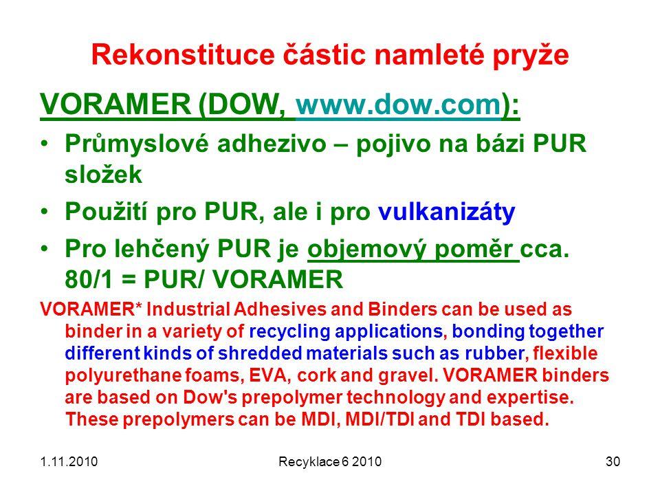 Rekonstituce částic namleté pryže Recyklace 6 2010301.11.2010 VORAMER (DOW, www.dow.com):www.dow.com Průmyslové adhezivo – pojivo na bázi PUR složek P