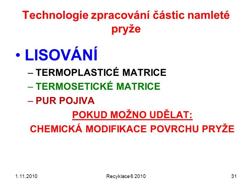 Technologie zpracování částic namleté pryže Recyklace 6 2010311.11.2010 LISOVÁNÍ –TERMOPLASTICÉ MATRICE –TERMOSETICKÉ MATRICE –PUR POJIVA POKUD MOŽNO