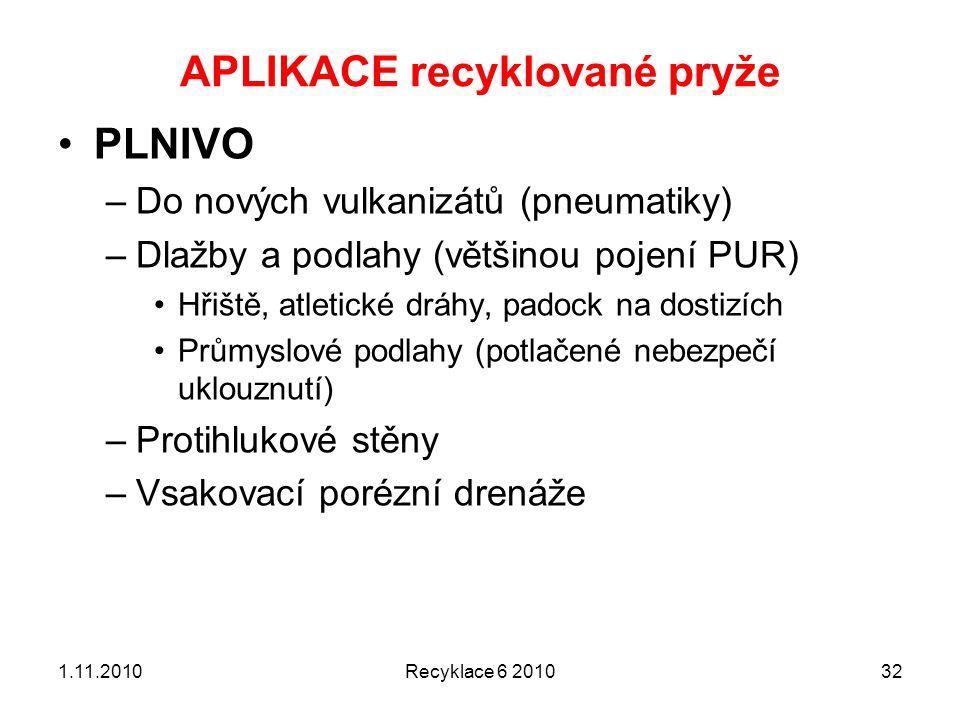 APLIKACE recyklované pryže Recyklace 6 2010321.11.2010 PLNIVO –Do nových vulkanizátů (pneumatiky) –Dlažby a podlahy (většinou pojení PUR) Hřiště, atle