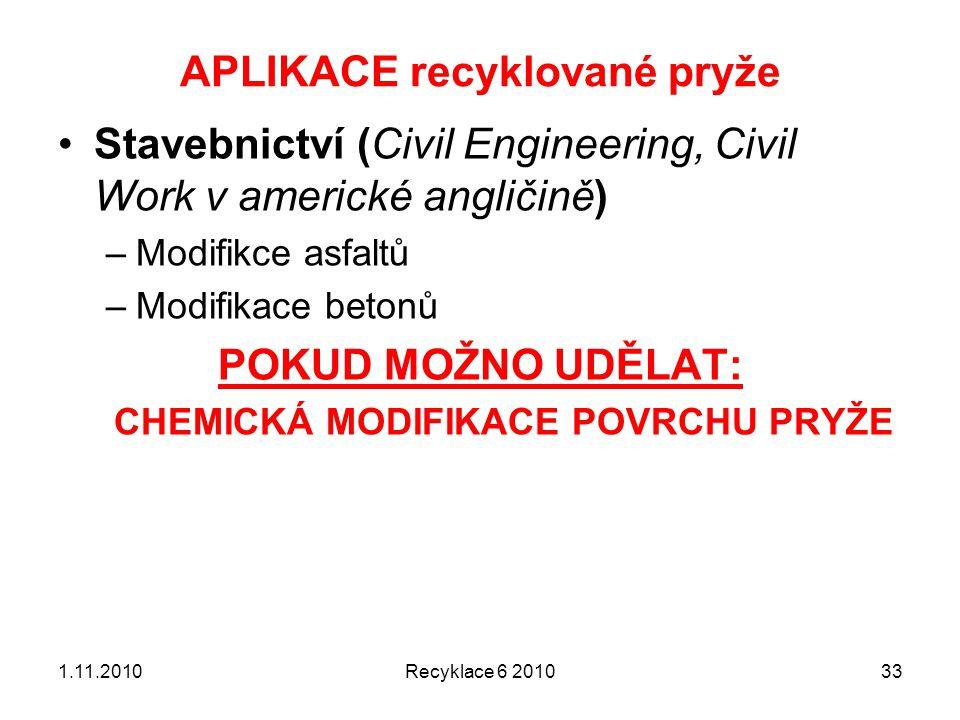 APLIKACE recyklované pryže Recyklace 6 2010331.11.2010 Stavebnictví (Civil Engineering, Civil Work v americké angličině) –Modifikce asfaltů –Modifikac