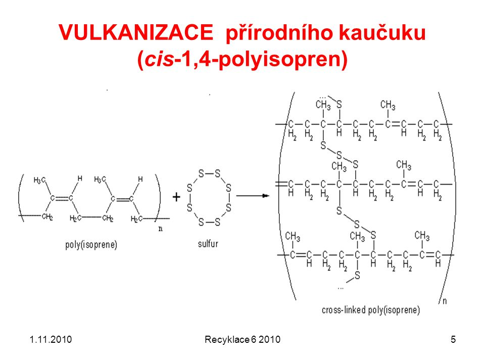 Kaučuk obecně 1.11.2010Recyklace 6 20106 Kaučuk je polymerní materiál přírodního nebo syntetického původu, vyznačující se velkou pružností, tedy schopností se účinkem vnější síly výrazně deformovat a poté opět zaujmout původní tvar.