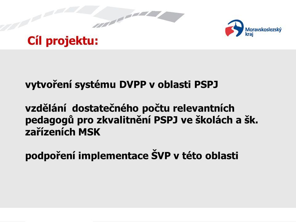 vytvoření systému DVPP v oblasti PSPJ vzdělání dostatečného počtu relevantních pedagogů pro zkvalitnění PSPJ ve školách a šk. zařízeních MSK podpoření