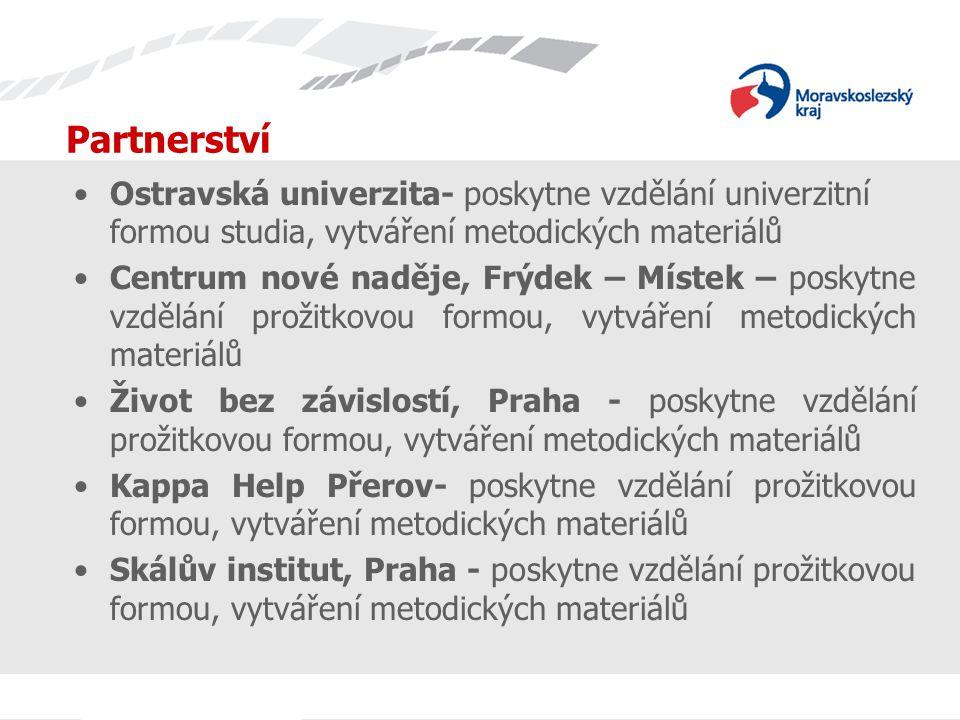 Partnerství Ostravská univerzita- poskytne vzdělání univerzitní formou studia, vytváření metodických materiálů Centrum nové naděje, Frýdek – Místek – poskytne vzdělání prožitkovou formou, vytváření metodických materiálů Život bez závislostí, Praha - poskytne vzdělání prožitkovou formou, vytváření metodických materiálů Kappa Help Přerov- poskytne vzdělání prožitkovou formou, vytváření metodických materiálů Skálův institut, Praha - poskytne vzdělání prožitkovou formou, vytváření metodických materiálů