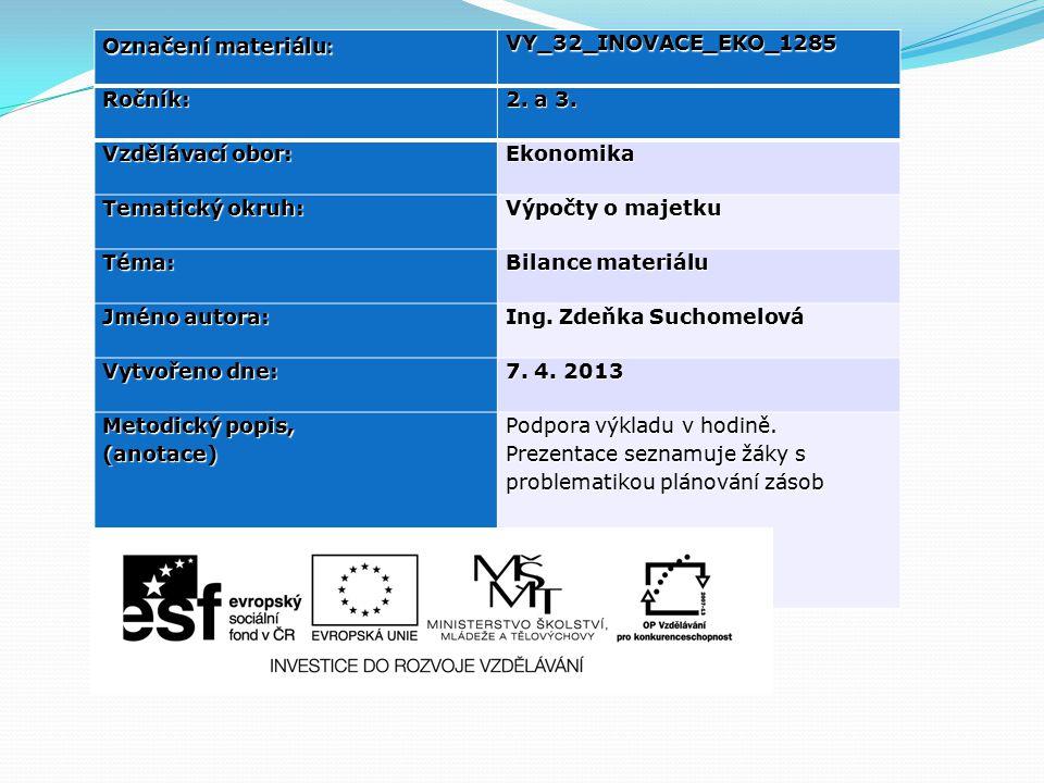 Plánování materiálových zásob - Zásobovací útvar stanovuje : množství nakoupených zásob pomocí bilance zásob (plán zásobování) - Plán zásobování – porovnává zdroje materiálu (počáteční zásoba a nákup), spotřebou materiálu (spotřeba, konečná zásoba)
