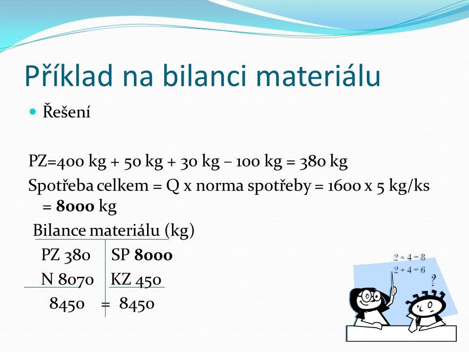 Příklad na bilanci materiálu Řešení PZ=400 kg + 50 kg + 30 kg – 100 kg = 380 kg Spotřeba celkem = Q x norma spotřeby = 1600 x 5 kg/ks = 8000 kg Bilanc