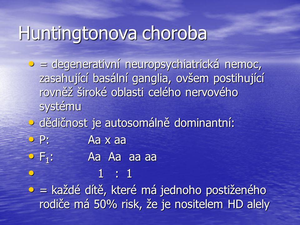 Huntingtonova choroba = degenerativní neuropsychiatrická nemoc, zasahující basální ganglia, ovšem postihující rovněž široké oblasti celého nervového systému = degenerativní neuropsychiatrická nemoc, zasahující basální ganglia, ovšem postihující rovněž široké oblasti celého nervového systému dědičnost je autosomálně dominantní: dědičnost je autosomálně dominantní: P: Aa x aa P: Aa x aa F 1 : Aa Aa aa aa F 1 : Aa Aa aa aa 1 : 1 1 : 1 = každé dítě, které má jednoho postiženého rodiče má 50% risk, že je nositelem HD alely = každé dítě, které má jednoho postiženého rodiče má 50% risk, že je nositelem HD alely