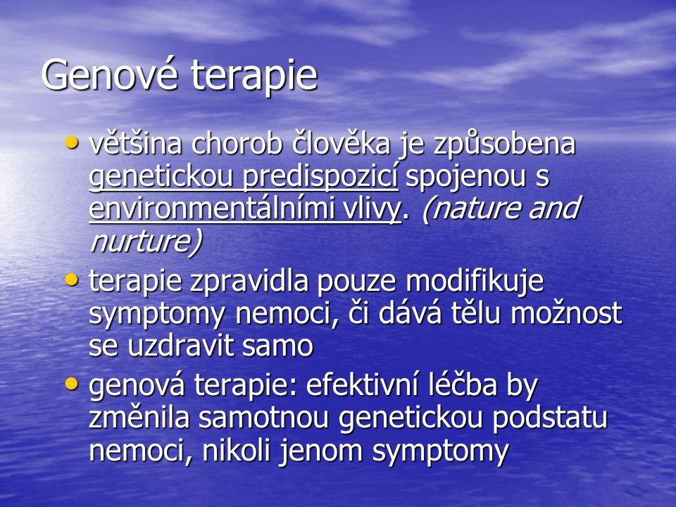 Genové terapie většina chorob člověka je způsobena genetickou predispozicí spojenou s environmentálními vlivy. (nature and nurture) většina chorob člo