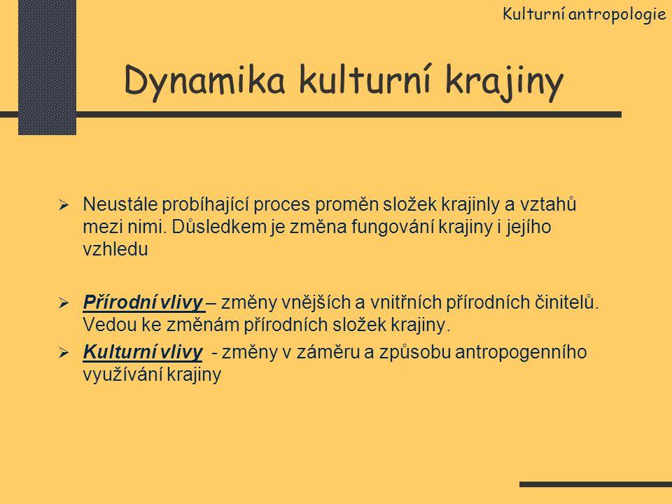 Dynamika kulturní krajiny  Neustále probíhající proces proměn složek krajinly a vztahů mezi nimi. Důsledkem je změna fungování krajiny i jejího vzhle