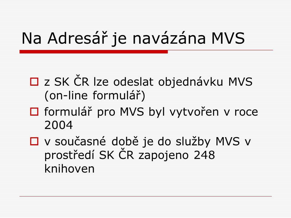 Na Adresář je navázána MVS  z SK ČR lze odeslat objednávku MVS (on-line formulář)  formulář pro MVS byl vytvořen v roce 2004  v současné době je do služby MVS v prostředí SK ČR zapojeno 248 knihoven