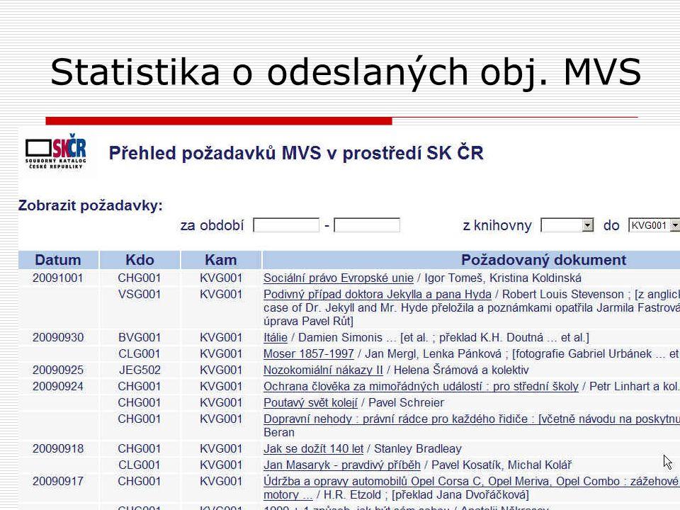 Statistika o odeslaných obj. MVS