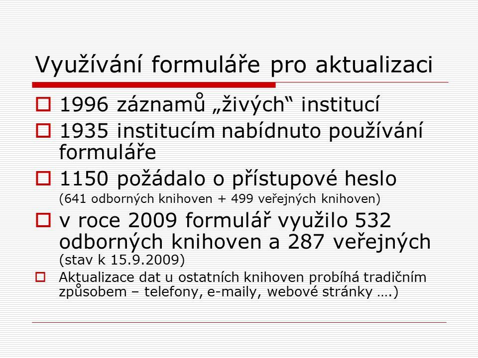 """Využívání formuláře pro aktualizaci  1996 záznamů """"živých institucí  1935 institucím nabídnuto používání formuláře  1150 požádalo o přístupové heslo (641 odborných knihoven + 499 veřejných knihoven)  v roce 2009 formulář využilo 532 odborných knihoven a 287 veřejných (stav k 15.9.2009)  Aktualizace dat u ostatních knihoven probíhá tradičním způsobem – telefony, e-maily, webové stránky ….)"""
