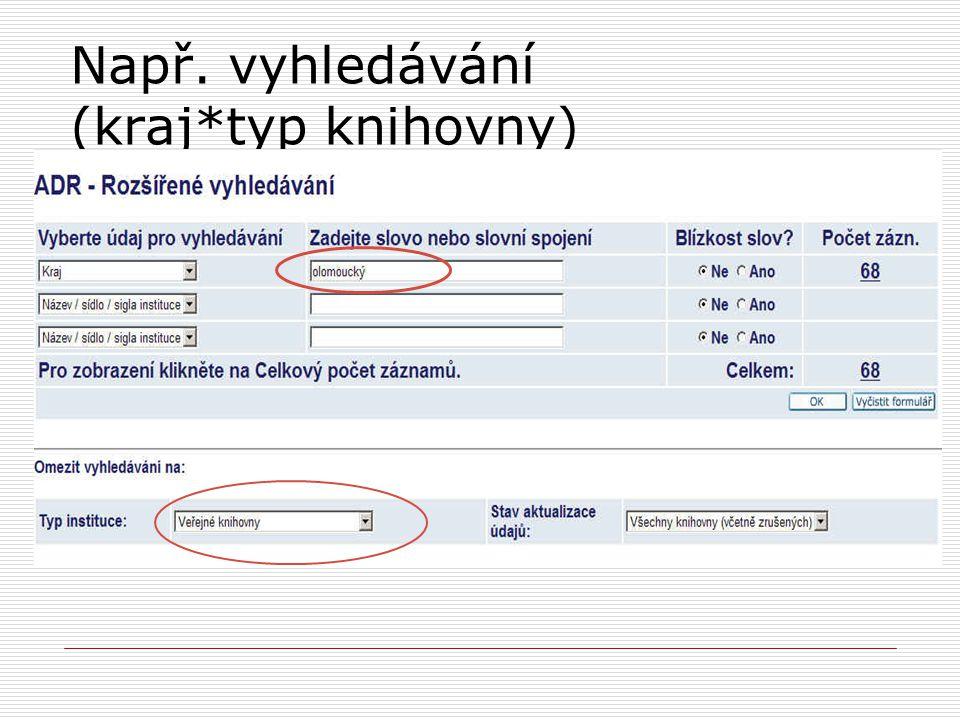 Např. vyhledávání (kraj*typ knihovny)