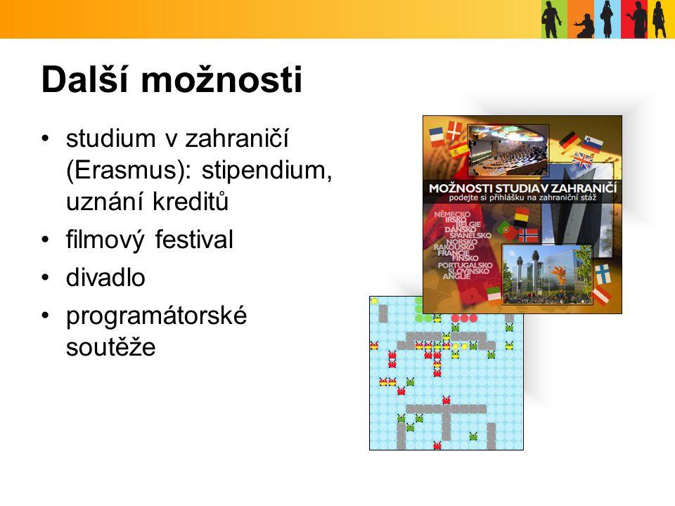 Další možnosti studium v zahraničí (Erasmus): stipendium, uznání kreditů filmový festival divadlo programátorské soutěže