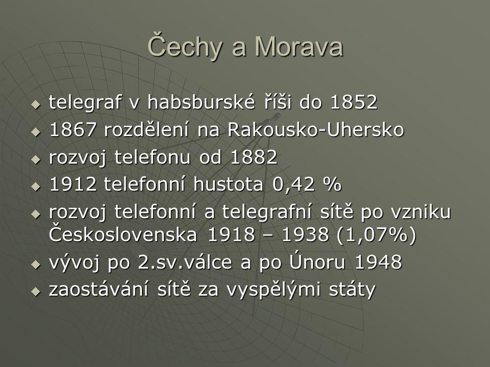 Čechy a Morava  telegraf v habsburské říši do 1852  1867 rozdělení na Rakousko-Uhersko  rozvoj telefonu od 1882  1912 telefonní hustota 0,42 %  r