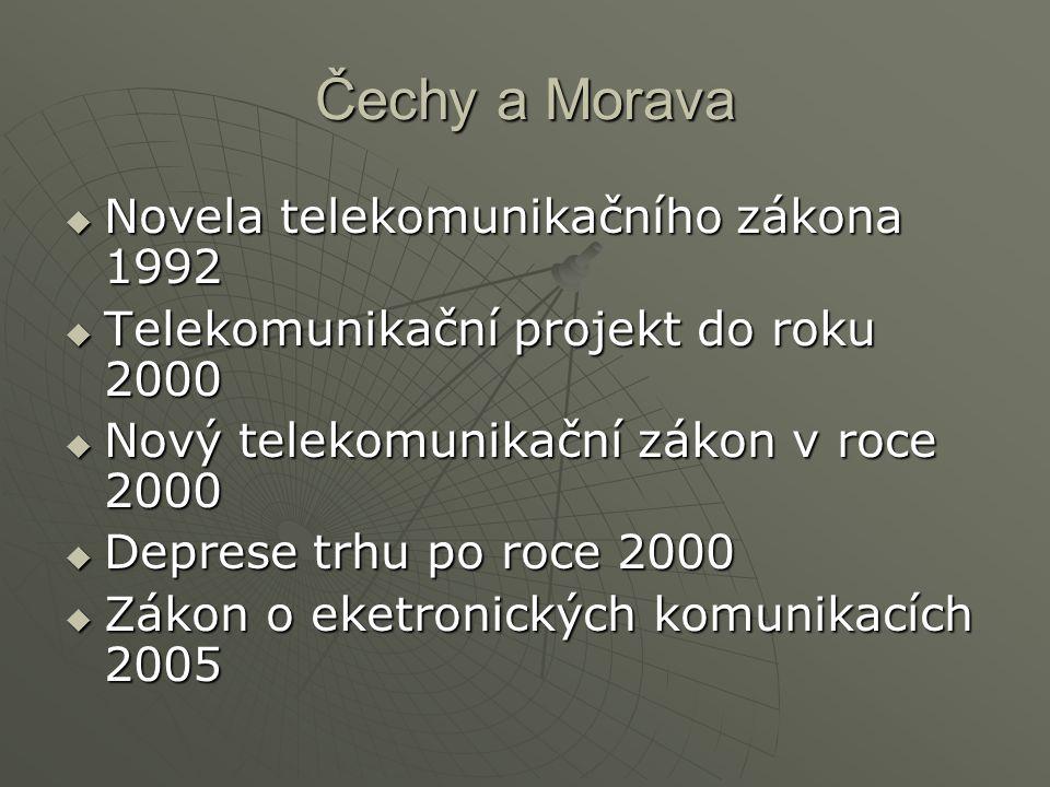 Čechy a Morava  Novela telekomunikačního zákona 1992  Telekomunikační projekt do roku 2000  Nový telekomunikační zákon v roce 2000  Deprese trhu p