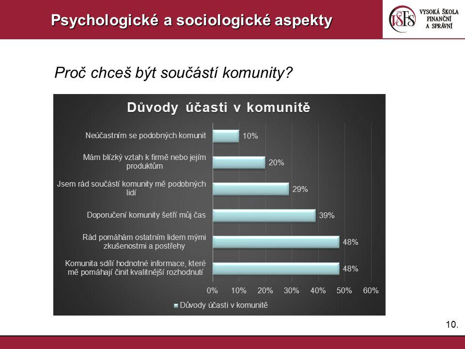 10. Psychologické a sociologické aspekty Proč chceš být součástí komunity?