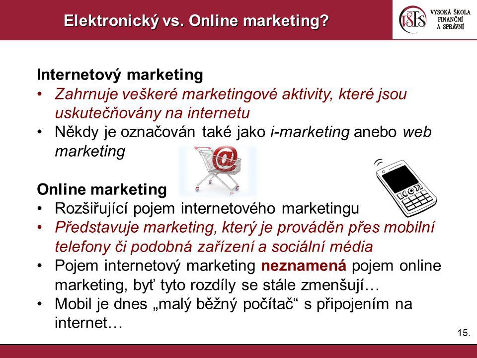 15. Elektronický vs. Online marketing? Internetový marketing Zahrnuje veškeré marketingové aktivity, které jsou uskutečňovány na internetu Někdy je oz