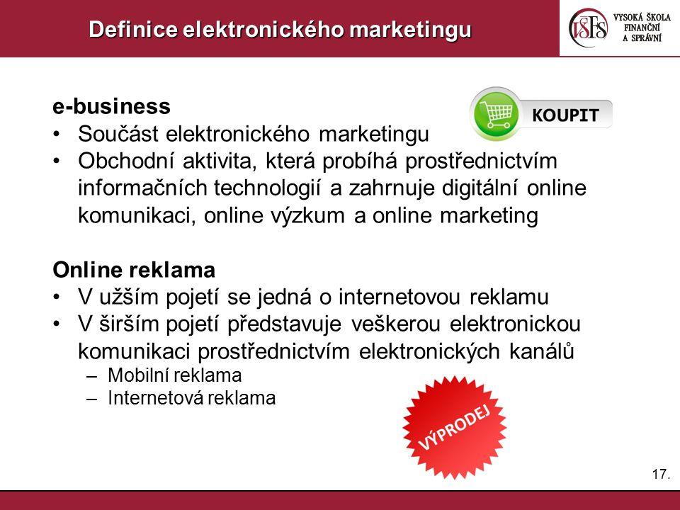 17. Definice elektronického marketingu e-business Součást elektronického marketingu Obchodní aktivita, která probíhá prostřednictvím informačních tech