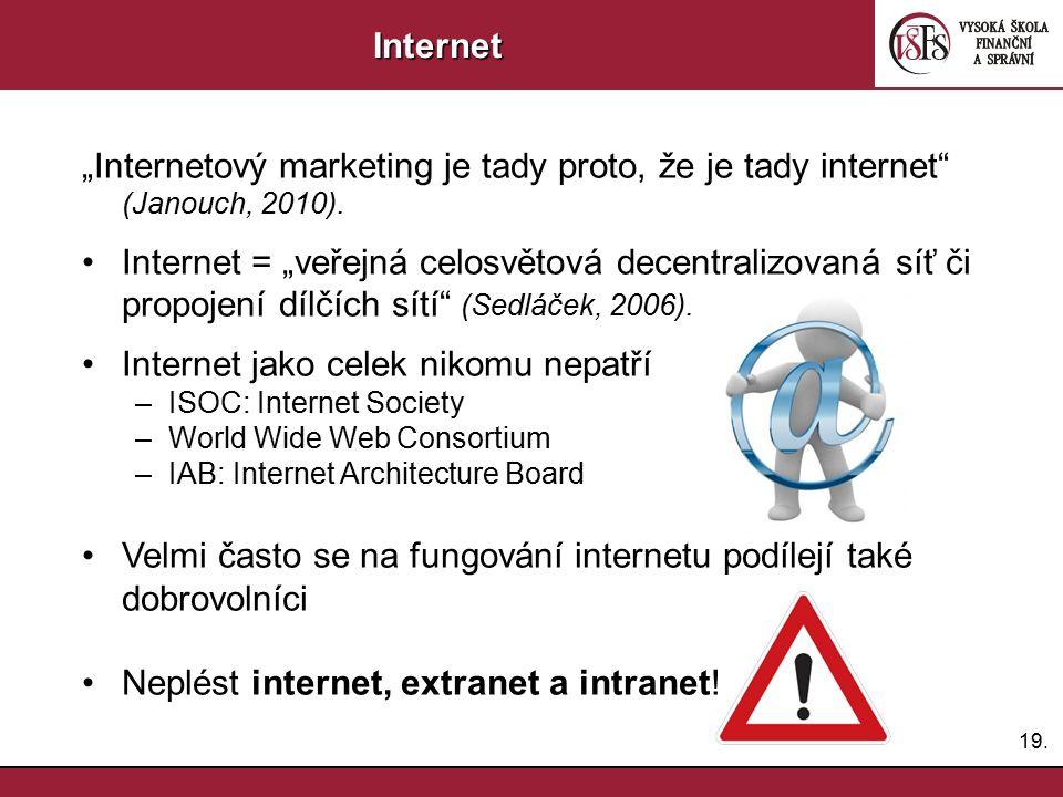 """19.Internet """"Internetový marketing je tady proto, že je tady internet"""" (Janouch, 2010). Internet = """"veřejná celosvětová decentralizovaná síť či propoj"""