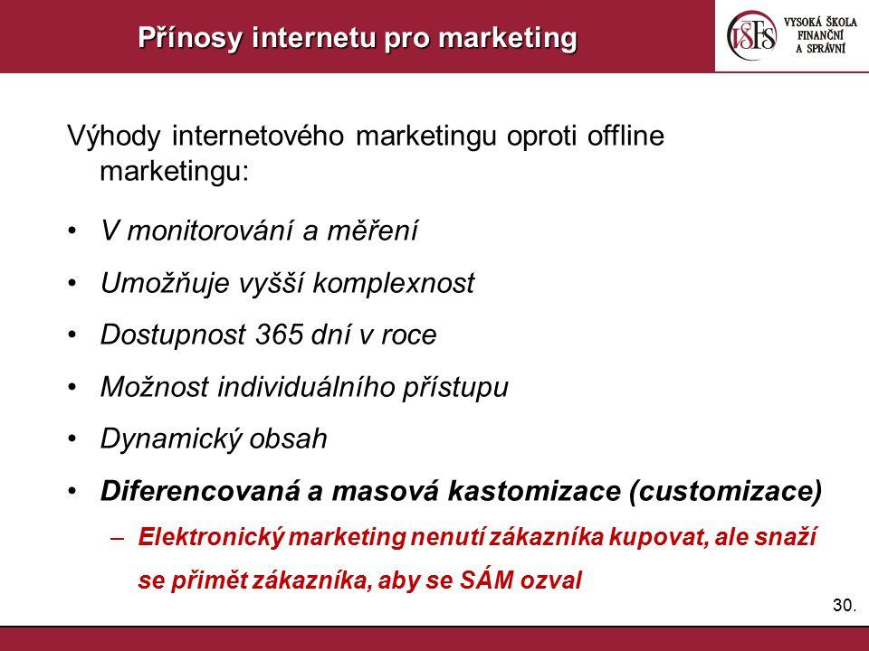 30. Přínosy internetu pro marketing Výhody internetového marketingu oproti offline marketingu: V monitorování a měření Umožňuje vyšší komplexnost Dost