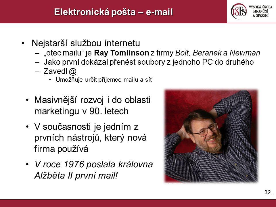 """32. Elektronická pošta – e-mail Nejstarší službou internetu –""""otec mailu"""" je Ray Tomlinson z firmy Bolt, Beranek a Newman –Jako první dokázal přenést"""