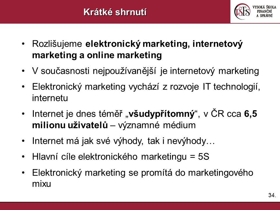 34. Krátké shrnutí Rozlišujeme elektronický marketing, internetový marketing a online marketing V současnosti nejpoužívanější je internetový marketing