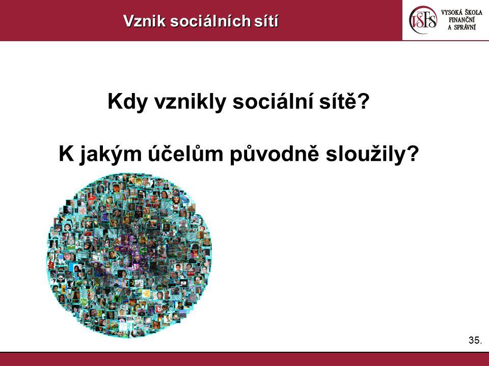 35. Vznik sociálních sítí Kdy vznikly sociální sítě? K jakým účelům původně sloužily?