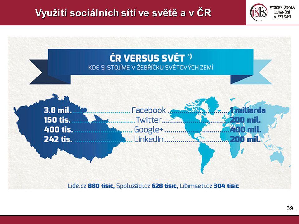 39. Využití sociálních sítí ve světě a v ČR