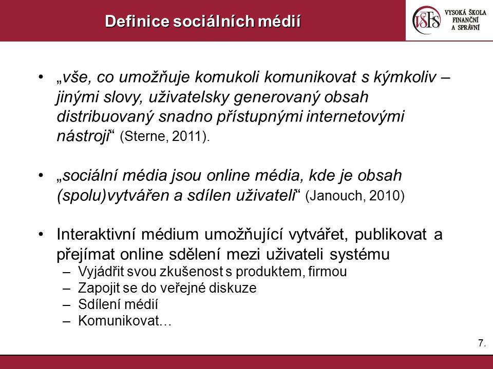 """7.7. Definice sociálních médií """"vše, co umožňuje komukoli komunikovat s kýmkoliv – jinými slovy, uživatelsky generovaný obsah distribuovaný snadno pří"""
