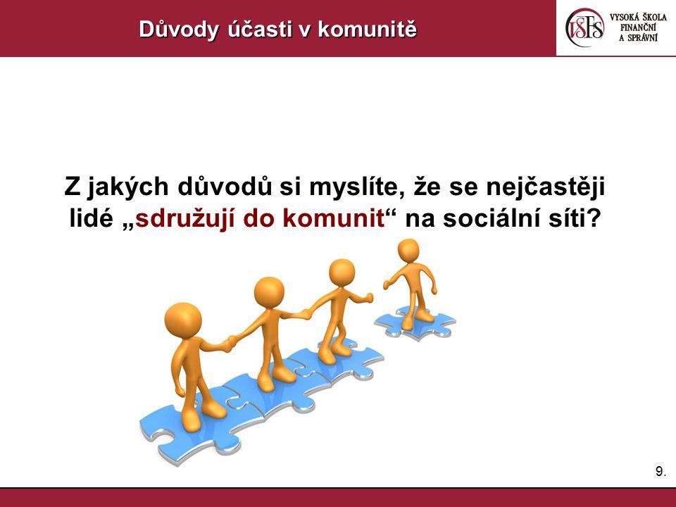 """9.9. Důvody účasti v komunitě Z jakých důvodů si myslíte, že se nejčastěji lidé """"sdružují do komunit"""" na sociální síti?"""