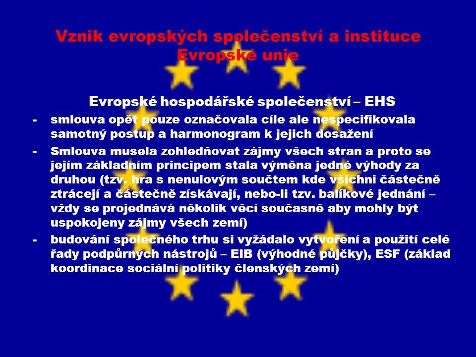 Vznik evropských společenství a instituce Evropské unie Evropské hospodářské společenství – EHS -smlouva opět pouze označovala cíle ale nespecifikoval